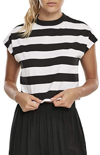 Urban Classics Ladies Stripe Short tee Camiseta, Blanco/Negro, L para Mujer