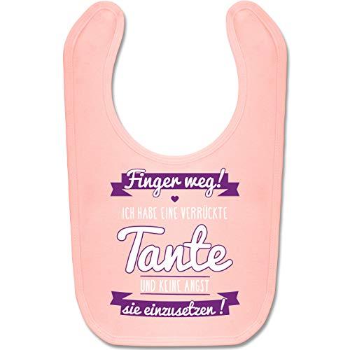 Shirtracer Sprüche Baby - Ich habe eine verrückte Tante Lila - Unisize - Babyrosa - geschenk zum 1 geburtstag - BZ12 - Baby Lätzchen Baumwolle