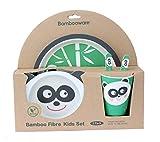 Set vajilla bambú infantil sin bpa , juego de 5 piezas, motivo Panda, cubertería para niños y...