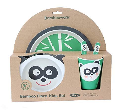 Set vajilla bambú infantil sin bpa , juego de 5 piezas, motivo Panda, cubertería para niños y bebés, Libre de BPA ecológico y biodegradable.
