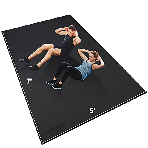 Large Exercise Mat 7'x5'x7mm innhom Workout Mat Gym Flooring for Home Gym Mats Exercise Mats for Home Workout, Thick Rubber Floor Mat for Fitness, Jump Rope, Cardio, Stretch, Plyo, Treadmill, MMA