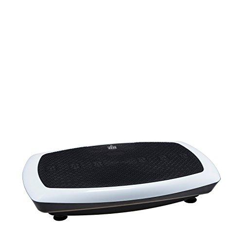 VibroSlim Radiale 3D Vibrationsplatte, Vibration Trainer Fitnessgerät mit Workout DVD, Wandkarte und Widerstandsbändern, weiß