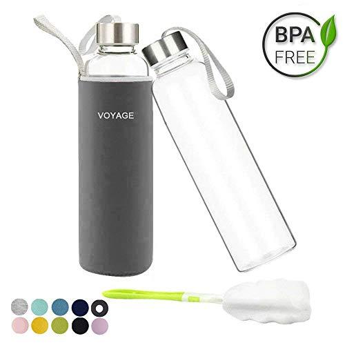 Glasflasche - BPA-frei Glasflasche - 550ml Trinkflasche Classic mit Nylon Tasche - für Auto - für Unterwegs Sport Flasche Glas Flasche Water Bottle Wasserflasche Trinkflasche aus Glas (Dunkelgrau)