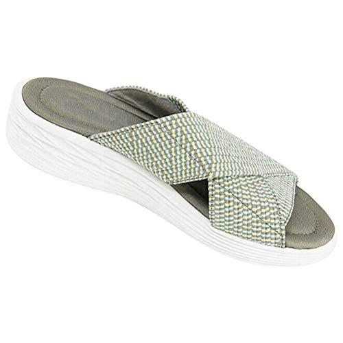 CZSMART Sandalias elásticas cruzadas ortopédicas, sandalias casuales, sandalias de plataforma antideslizantes, comodidad en la playa y sandalias de apoyo para mujeres