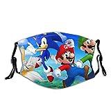 Mario Bros And Sonic Team - Mascherina antipolvere lavabile, paradenti con filtro sostituibile al carbone attivo, morbido e traspirante per attività all'aria aperta/sport/motore/ciclismo adulti