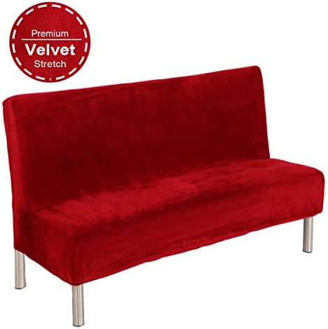 Best 19V78 Red Plush Sofa Cover,Sofa Bed Cover Futon Slipcover Solid Color Full Folding Elastic Armless 8