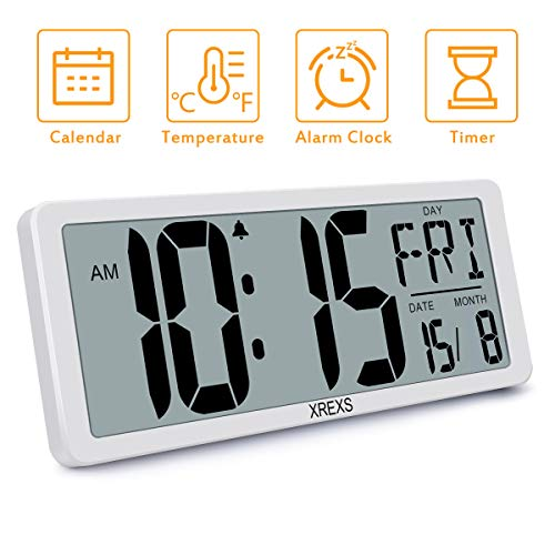 XREXS Large Digital Wall Clock, Electronic Alarm Clocks for Bedroom Home Decor, Count Up & Down Timer, 14.17 Inch Large LCD Screen with Time/Calendar/Temperature Display (Batteries Included)