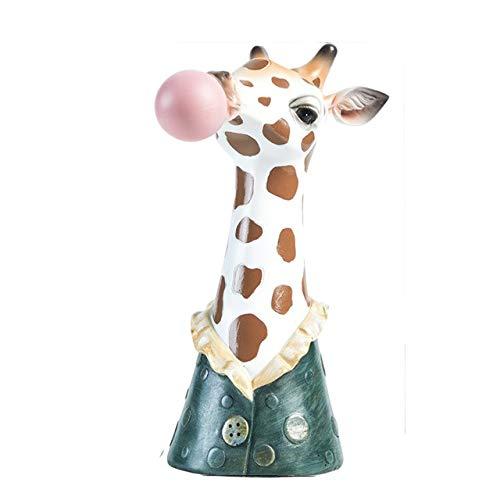 QAZXS Jarrn con Cabeza de Animal de Dibujos Animados de Resina, Maceta con Animales, Manualidades Creativas, decoracin, Goma de mascar, Cebra, Jirafa, Panda, Ciervo, Conejito, Oso-Azul