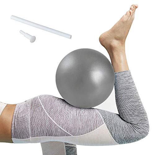 Softball Pilates, Mini Pelota de Ejercicio de 25cm, Anti-Burst Ballon Fitness, Softball Pilates para Gimnasio, Yoga, Masaje y Pilates en Casa (Gris)