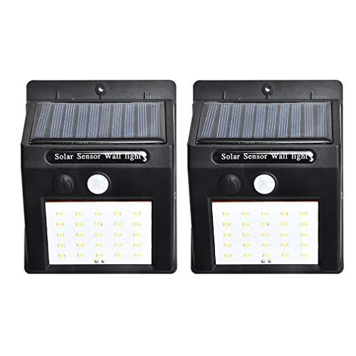 bansd 2 Pezzi/Set 20 luci solari a LED con sensore di Movimento Lampada da Parete per Esterni da Giardino Lampada da Giardino Nera