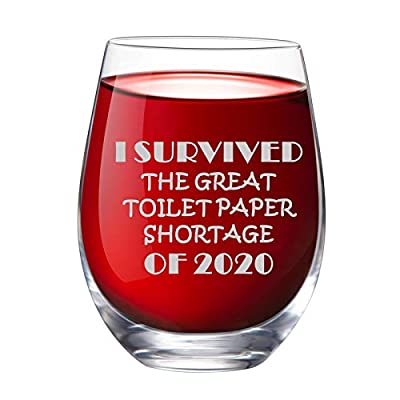 IFOLAINA I Survived The Great Toilet Paper Shortage of 2020 Stemless Wine Glass 15 oz Novelty Crystal Cup with Sayings Funny Gifts Christmas Party Accessories for Women Man Friend