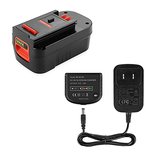 Powilling 5.0Ah 18V Lithium HPB18 Battery Compatible with Black and Decker HPB18 HPB18-OPE 244760-00 A1718 FS18FL FSB18 Firestorm Battery Black and Decker 18 Volt Battery Include Charger