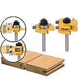 Juego de bits de enrutador de ranura y ranura de 2 piezas, 4EVERHOPE Piso para puertas de madera 8mm 3 dientes vástago en forma de T Herramienta de carpintería para madera (2pcs-Shank 8mm)