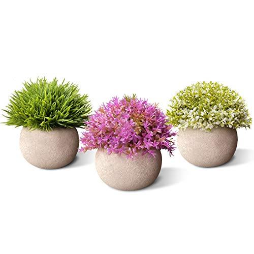 Aiskki Künstliche Blumen Bonsai Kunstpflanze mit grauen Topf , Künstliche Pflanzen für Hochzeit/Büro/Garten/Zuhause Dekoration,3er Set