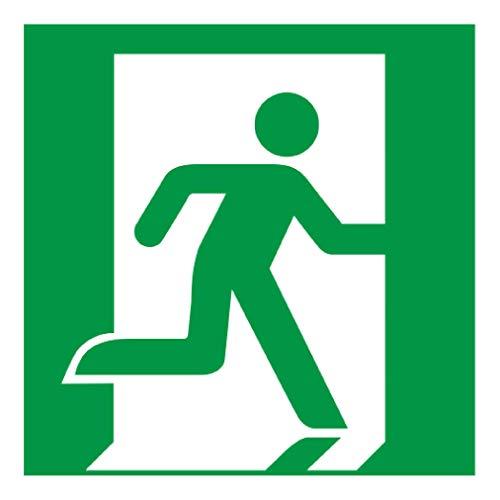 Anro Warnschild für Notausgang E002 | Nachleuchtendes PVC Sicherheitsschild Fluchtweg | Selbstklebendes Rettungsweg-Schild für Schulen, Betriebe, Produktion & Kliniken | Farbe: Grün