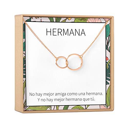 Collar Regalo Para Hermana: Joyería, Mayor, Menor, Cumpleaños, Navidad, 2 Asymmetrical Circles (rose-gold-plated-brass, NA)