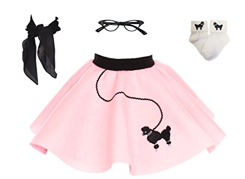 1950s Poodle Skirt with Scarf, Bobby Socks, and Glasses, 4 Piece Halloween or Pretend Play Costume Set for Toddlers Light Pink