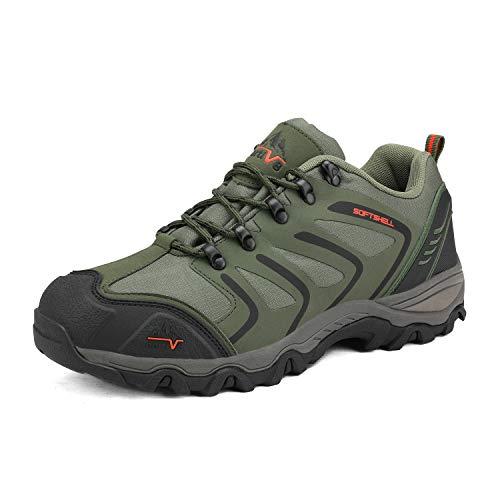 NORTIV 8 Men's Low Top Waterproof Hiking Shoes Outdoor Lightweight Trekking Trails 160448-low Army Green Black Orange Size 12 M US
