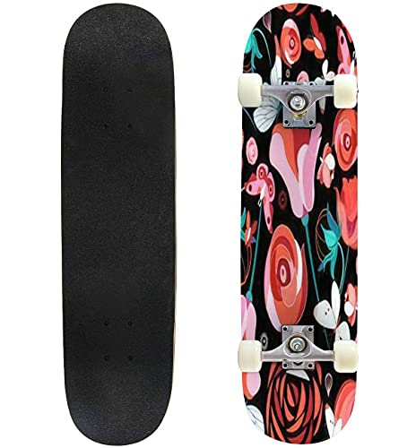 """Seamless Bright Pattern with Flowers and Butterflies on a Dark Skateboard 31""""x8"""" Double-Warped Skateboards Outdoor Street Sports Skateboard for Beginners Professionals Cool Adult Teen Gifts"""