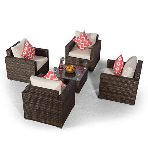 Giardino Sydney 4 Seater Brown Rattan Conversation Sofa Set | Rattan Garden 4 Seat Lounge Chair Set with Coffee Table & All Weather Furniture Covers