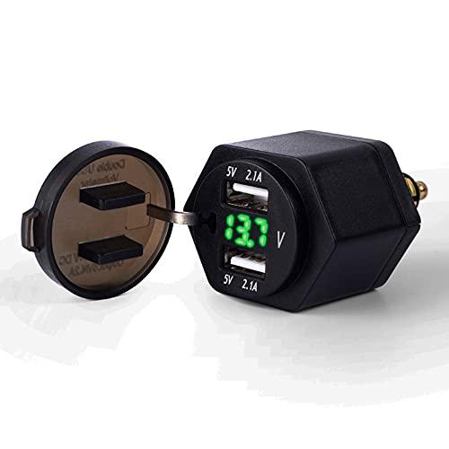 Adaptador USB para Encendedor de Cigarrillos, Enchufe Integrado, Adaptador de Cargador USB Dual con voltímetro LED para Motocicleta BMW/teléfono móvil/iPhone/GPS/SatNav