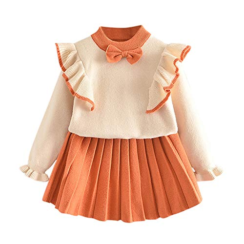 Goosuny Baby Mädchen Kleidung 1-6 Jahre Langarm Taufkleid Spitzen Partykleid Blumenmädchen Kleid Geburtstag Kleider Outfits 2-teiliges Set Prinzessin Strickkleid Festlich Kleider Jumper Partykleid