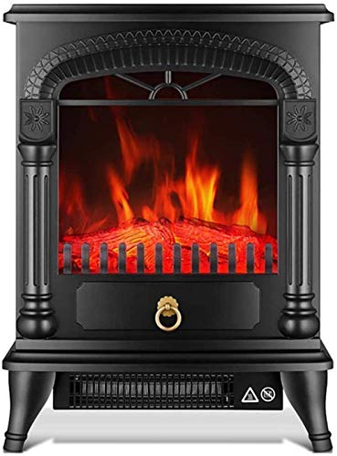AJH Electric Fireplace, 2000W Portable Electric Free Standing Fireplace With Realistic Led Flame Effect Adjustable Thermostat Overheating Protection Black