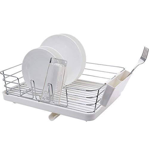MRZHW Abtropfgestell Kunststoff und 304 Edelstahl Geschirrabtropfer für die Küche, Abtropfgestell mit Besteckkasten und Tellerständer - A
