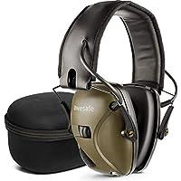 Awesafe GF01+ Casco Tiro Electronico Protectores Auditivos Especialmente Diseñados para Cazadores y Tiradores, NRR 22,Ideal para Disparar y Cazar (Camuflaje),+Funda de Almacenamiento (Verde)