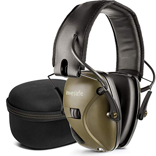 awesafe Electronic Shooting Hearing Protection Earmuffs Comes with Hard Carrying Case, Shooting Earmuffs with Sound Amplification and Suppression (Green)