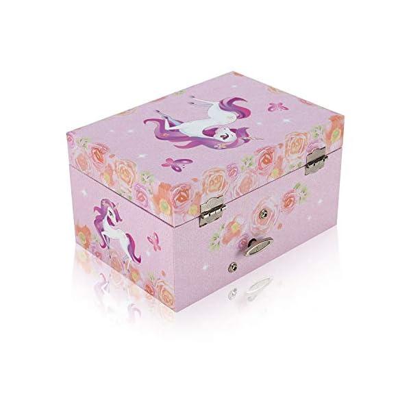 TAOPU Sweet Musical Jewelry Box with Spinning Cute Unicorn Figurines Music Box Jewel Storage Case for Girls 6