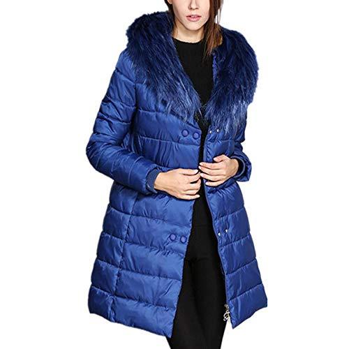 Initial dames winterjas katoenen jas grote bontkraag lange losse katoenen jas