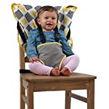 The Original Easy Seat Portable High Chair (Charcoal w/Yellow) - Quick, Easy, Convenient Cloth Travel High Chair Fits in Your Hand Bag for a Happier, Safer Infant/Toddler