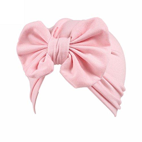 IMJONO Bandeau Cheveux bébé Fille Coton Doux Bonnet Bebe Fille pour Bébé de 3 à 8 Ans Tout-Petits Mode Enfants Bonnet Turban Noeud Mou Tête Wraps (Rose)