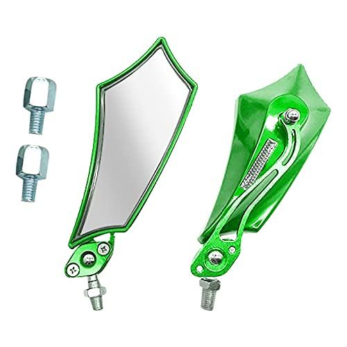 FEMONGY espejos retrovisores moto, 1 par espejos retrovisores moto, espejo retrovisor moto, 2 tornillos, Hecho de aleación de aluminio, fuerte y robusto, Para motocicletas (23.5cm x 6.8cm, verde)