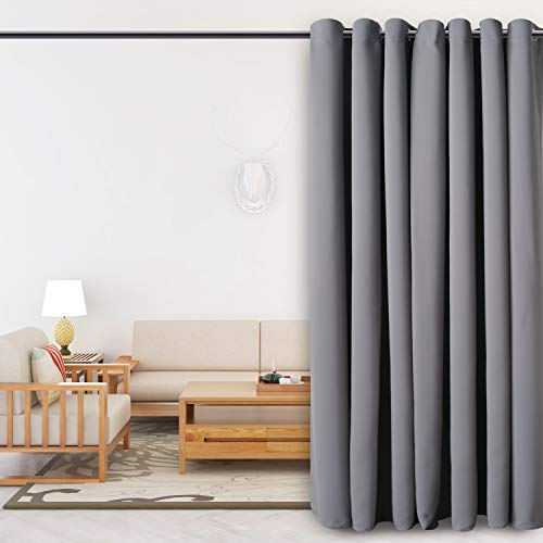 FLOWEROOM Room Divider Curtain, 8.3 ft Wide x 7 ft Long, Grey – Blackout Curtains for Bedroom Partition/Living Room/Shared Office, Large Thermal Grommet Privacy Curtain Panel for Sliding Door