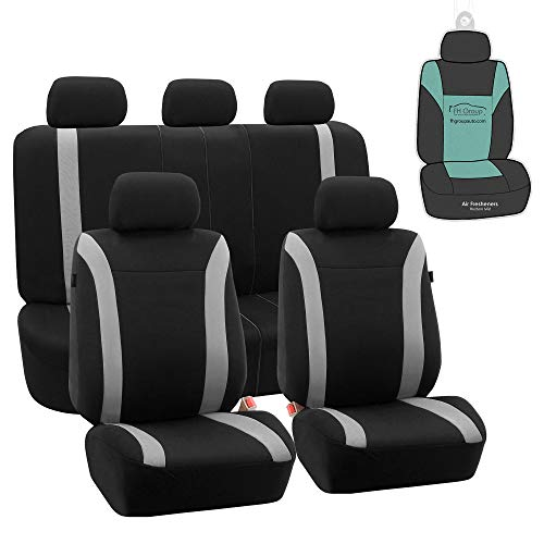 FH Group FB054115 Cosmopolitan Flat Cloth Full Set Car Seat Covers, (Airbag Compatible & Split Bench) w Gift, Gray/Black Color -Fit Most Car, Truck, SUV, or Van