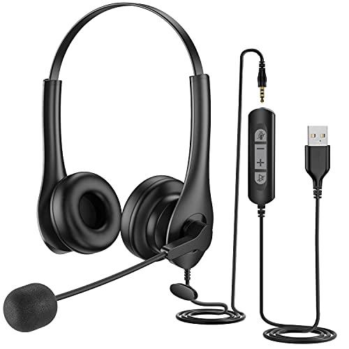 PC Headset mit Mikrofon Noise Cancelling, USB/ 3,5 mm Computer Headset mit In-Line Anrufsteuerung, komfortabel sitzendes 300 Grad Boom Mic Headset mit Mikrofon für Laptop, Call Center, Skype, Zoom