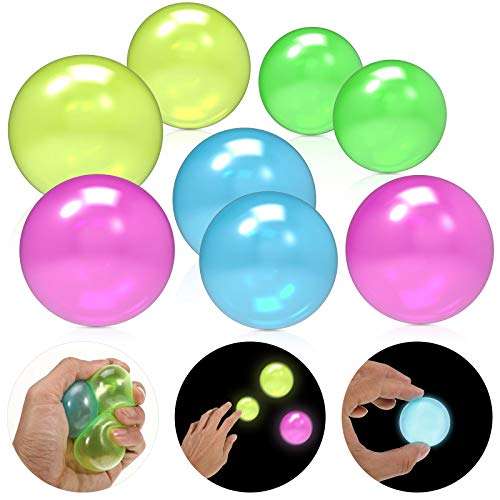 8 Pieces Fidget Balls Glow Balls Sticky Wall Balls Stress Relief Balls Sticky Ceiling Balls Ceiling Luminous Sticky Ball Fun Decompression Toy for ADHD, OCD, Anxiety