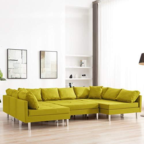 UnfadeMemory Modulares Sofa Wohnzimmersofa Modulsofa Stoff Loungecouch Polstersofa Stoffsofa Couch mit Sitzpolster und Rückenkissen 293,5 x 187 x 57 cm (Gelb)