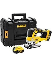 DeWalt 18V XR Top Handle Brushless Jigsaw Kit 2 x 5.0Ah Batteries, Carry Case, Yellow/Black - DCS334P2-GB, 3 Years Warranty