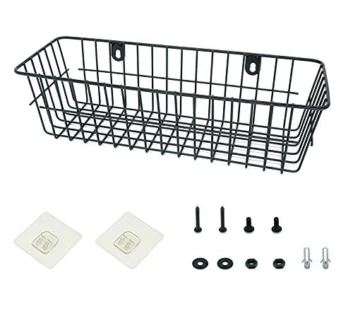 Lefipor Cesta de alambre negra, estante de ducha sin agujeros, estante de pared ideal para cocinas y baños. La cesta de metal puede contener cartas, carteras, suculentas, gafas de sol, etc.