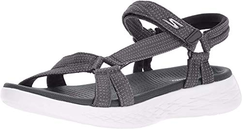 Skechers Damen On The Go 600 15316-CHAR Knöchelriemchen Sandalen, Grau (Charcoal), 38 EU