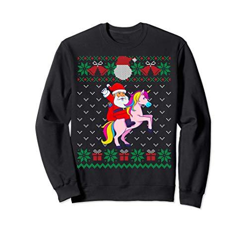 Santa Montar En Unicornio, Suéter De Navidad Feo, Mujeres Sudadera