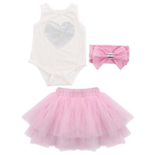 Longra Baby meisjes hart tepel hoofdband rok ruches kleding set