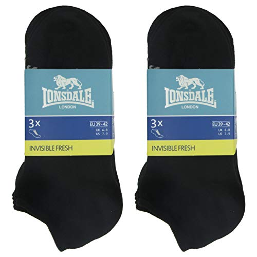 Lonsdale Invisible Fresh 6 Paar Sneakersocken, Baumwolle von ausgezeichneter Qualität mit Piquet-Herstellung (Schwarz, 35-38)