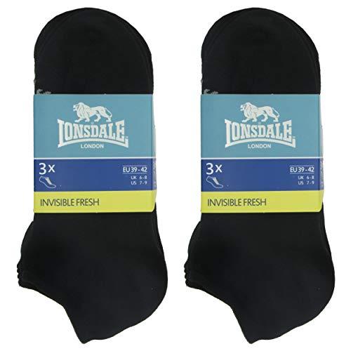 Lonsdale Invisible Fresh 6 Paia di calzini Sneaker, eccellente qualità di cotone con lavorazione Piquet (Nero, 39-42)