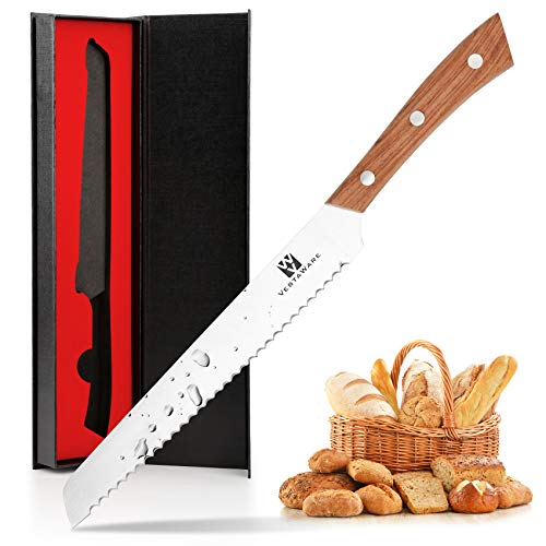 Bread Knife Vestaware 8 Inch Ultra Sharp Serrated Knife , German High Carbon Stainless Steel Cake Slicer, Ergonomic Handle, Durable Kitchen Knife Bread Cutter for All Types of Bread