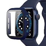 Miimall Funda Compatible con Apple Watch Series 6 / SE / 5/4 44mm, PC Case con Protector de Pantalla Vidrio Templado [Cubierta Completa] [Anticaída] para iWatch Series 6 / SE / 5/4 44mm - Azul