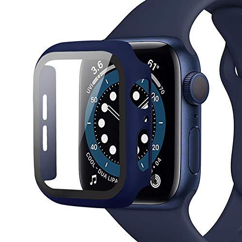 Miimall Compatible con Apple Watch Series 6 SE 5 4 44mm Funda con Protector de Pantalla Vidrio Templado, Ultradelgado Cubierta Completa PC Bumper Case y Protector Pantalla para iWatch 44mm - Azul